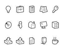 вектор канцелярских принадлежностей офиса иллюстрации икон установленный Стоковое Изображение