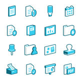 вектор канцелярских принадлежностей офиса иллюстрации икон установленный Стоковые Фото