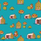 вектор картины безшовный Иллюстрация деревни Стоковые Изображения RF
