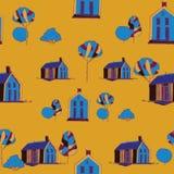 вектор картины безшовный Иллюстрация деревни Стоковые Изображения