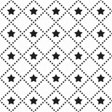 вектор картины безшовный Крыть черепицей черепицей квадратная предпосылка с monochrome значком и пунктирными линиями звезды иллюстрация вектора