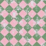 вектор картины безшовный Творческая геометрическая checkered зеленая и розовая предпосылка с косоугольником Стоковая Фотография RF