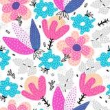 вектор картины безшовный Цветки абстрактной руки вычерченные с различными текстурами все все предметы флористической иллюстрации  стоковая фотография