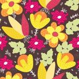 вектор картины безшовный Цветки абстрактной руки вычерченные с различными текстурами все все предметы флористической иллюстрации  стоковые изображения