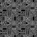 вектор картины безшовный Черно-белая геометрическая предпосылка с элементами нарисованными рукой декоративными племенными Печать  Стоковое Изображение