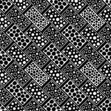 вектор картины безшовный Черно-белая геометрическая предпосылка с элементами нарисованными рукой декоративными племенными Печать  Стоковая Фотография