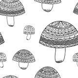 вектор картины безшовный Doodle картины гриба Стоковое Изображение