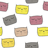 Вектор картины милого Handdrawn кота безшовный Стоковые Изображения RF