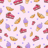 Вектор картины мороженого торта круассана безшовный иллюстрация штока