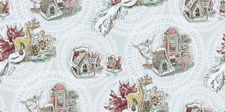 Вектор картины Нового Года рождества балерины игрушек Щелкунчика голубой розовой безшовной текстурированный краской иллюстрация вектора