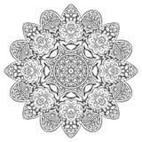 Вектор картины орнамента Zentangle мандалы круглый Стоковые Фотографии RF