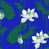 Вектор картины лотоса акварели безшовный Стоковая Фотография