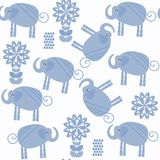 Вектор картины слонов животных безшовный Оно расположено в тяжёлом ударе Стоковое фото RF