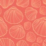 Вектор картины Seashells безшовный Предпосылка Doodle красочная Стоковая Фотография RF