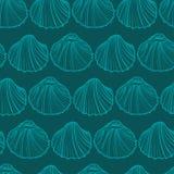 Вектор картины Seashells безшовный сеть универсалии шаблона страницы приветствию doodle карточки предпосылки Стоковое Изображение