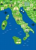 вектор карты Италии шаржа Стоковая Фотография RF