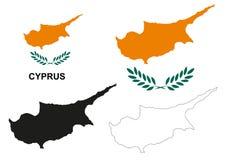 Вектор карты Кипра, вектор флага Кипра, изолированный Кипр Стоковое Фото