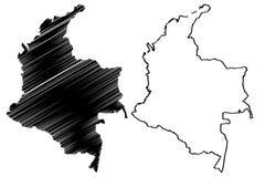 Вектор карты Колумбии иллюстрация вектора