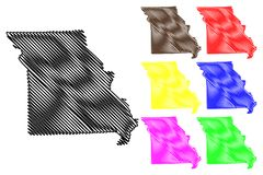 Вектор карты Миссури Стоковые Изображения