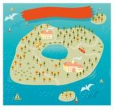 Вектор карты острова Стоковая Фотография RF