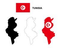 Вектор карты Туниса, вектор флага Туниса, изолированный Тунис Стоковые Фото