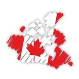 вектор карты флага Канады Стоковое Изображение