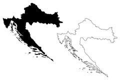 Вектор карты Хорватии Стоковые Фотографии RF
