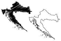 Вектор карты Хорватии Стоковое Изображение RF