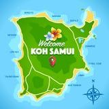 Вектор карты Samui Koh Стоковая Фотография
