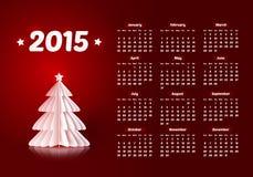 Вектор календарь 2015 Новых Годов с бумажным рождеством иллюстрация штока