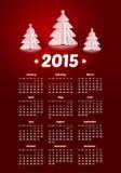 Вектор календарь 2015 Новых Годов с реалистической бумагой бесплатная иллюстрация