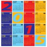 Вектор календаря года 2015 красочного Стоковые Фотографии RF