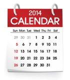 Вектор календаря 2014 Стоковая Фотография