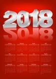 Вектор календаря 2018 Стоковые Фотографии RF