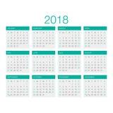 Вектор 2018 календаря Стоковое Изображение