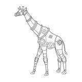 Вектор книжка-раскраски жирафа стиля Steampunk Стоковое Изображение