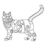 Вектор книжка-раскраски кота стиля Steampunk Стоковые Изображения