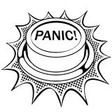 Вектор книжка-раскраски красной кнопки паники Стоковое Изображение