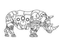 Вектор книжка-раскраски носорога стиля Steampunk Стоковые Фотографии RF