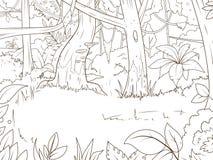 Вектор книжка-раскраски шаржа леса джунглей Стоковое Фото