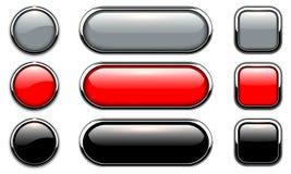 вектор кнопок лоснистыми установленный иллюстрациями Стоковые Изображения