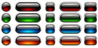 вектор кнопок лоснистыми установленный иллюстрациями Стоковое Изображение