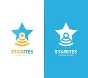 Вектор комбинации логотипа звезды и склянки Уникально шаблон дизайна логотипа руководителя и лаборатории Стоковое Изображение RF