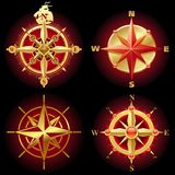 вектор компаса золотистый розовый Стоковое Изображение