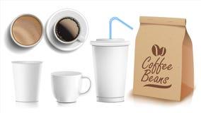 Вектор комплексного конструирования кофе Чашки глумятся вверх белизна кружки кофе Керамическая и бумажная, пластичная чашка Верхн Стоковое фото RF