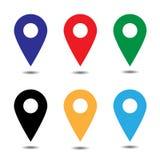 Вектор комплекта значка указателя карты Символ положения GPS Плоский дизайн Стоковое Изображение RF