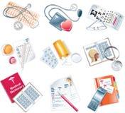 вектор комплекта иконы медицинский стоковые изображения rf