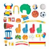 Вектор комплекта инструментов сторонников команды спорта воцарения Шляпа, флаг, шарф Изолированная плоская иллюстрация шаржа иллюстрация штока