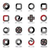 вектор комплекта элементов конструкции Формы круга, квадрата и спирали Стоковое фото RF