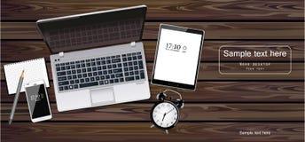 Вектор компьтер-книжки, таблетки и телефона реалистический Устройства новой технологии Детальные иллюстрации 3d иллюстрация вектора